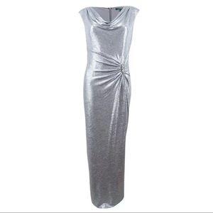 Bombshell Metallic Art Deco Evening Dress Gown